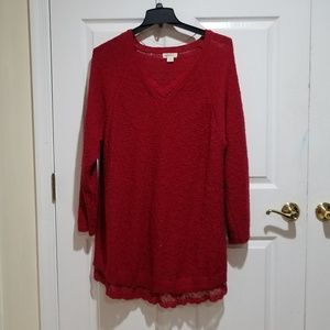 Red Long Sleeve with Metallic Sparkle lace Trim LS